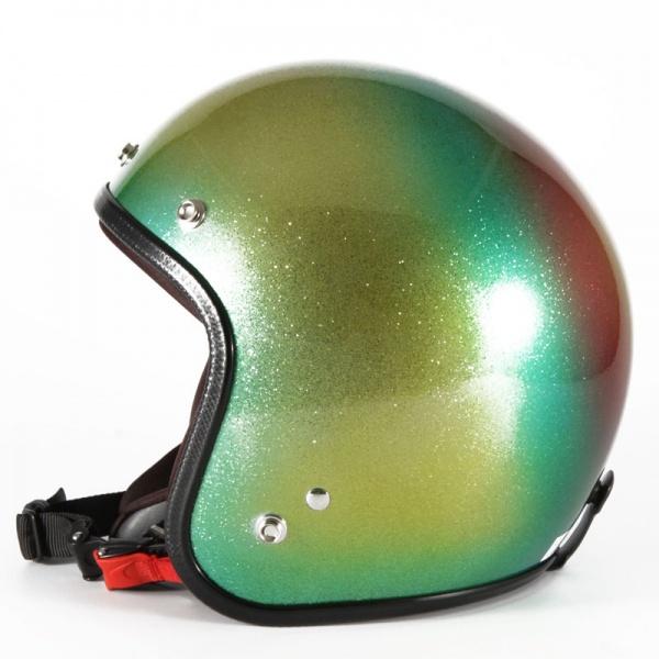 72JAM デザイナーズジェットヘルメット [VNT-13]SANTIAGO ヴィンテージ [ゴールドシルバーフレークベースグロス仕上げ]FREEサイズ(57-60cm未満) メンズ レディース 兼用品 SG規格 全排気量対応