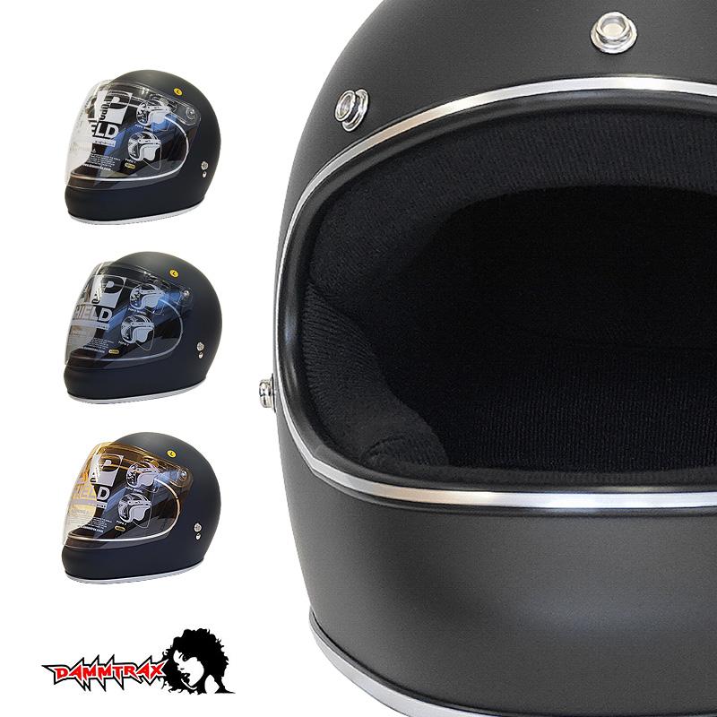 開閉シールド付きダムトラックス アキラ DAMMTRAX AKIRA フルフェイス ヘルメット [マットブラック]2サイズ メンズ レディース 兼用品 SG規格 全排気量対応 バイク用