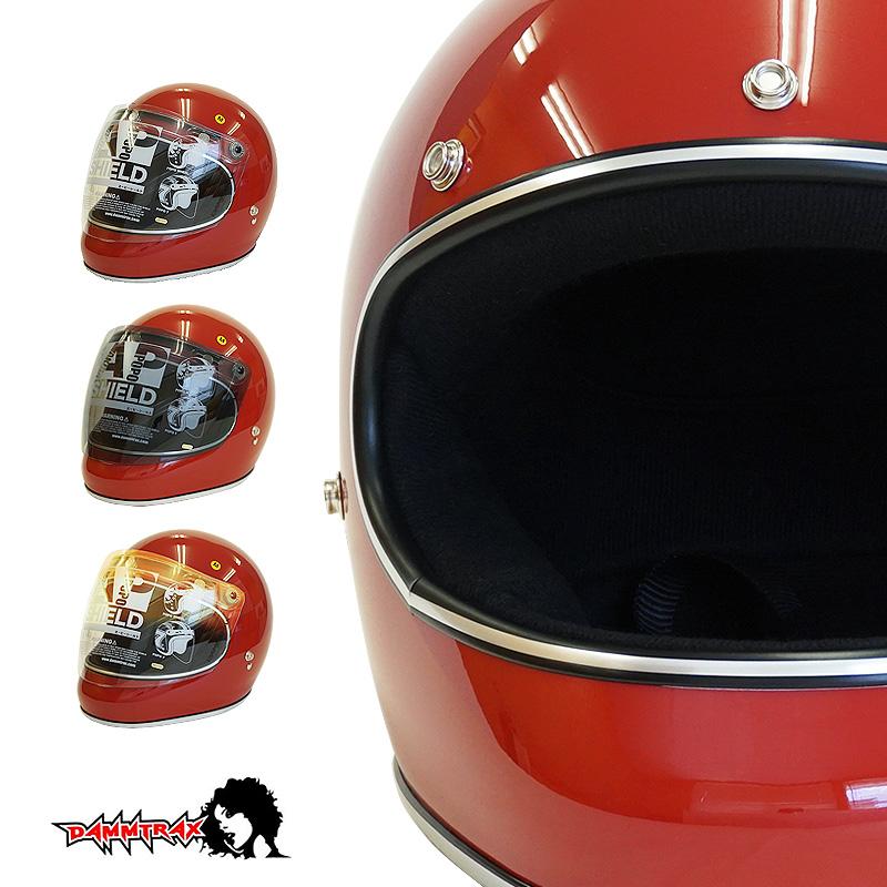 開閉シールド付きダムトラックス アキラ DAMMTRAX AKIRA フルフェイス ヘルメット [レッド]2サイズ メンズ レディース 兼用品 SG規格 全排気量対応 バイク用