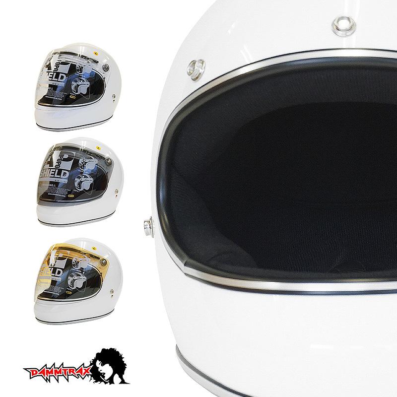 開閉シールド付きダムトラックス アキラ DAMMTRAX AKIRA フルフェイス ヘルメット [ホワイト]2サイズ メンズ レディース 兼用品 SG規格 全排気量対応 バイク用