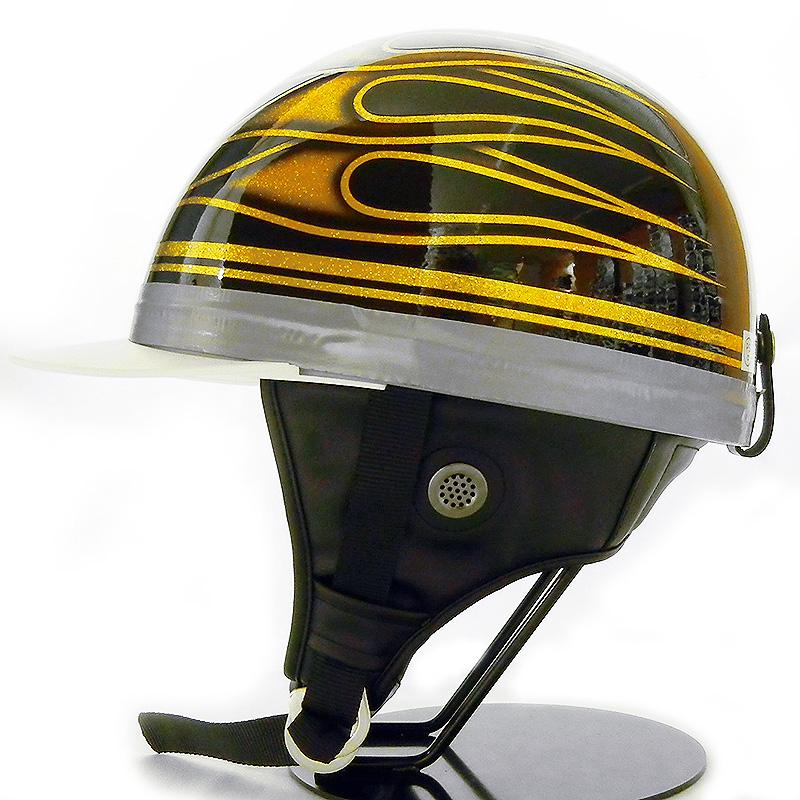 コルク ヘルメット ドリーム カスタムコルク半 ハーフヘルメット ツバ付き [フレアー/ブラック×ゴールド]FREEサイズ(59-60cm未満) メンズ レディース SG規格 125cc以下車両対応 バイク用