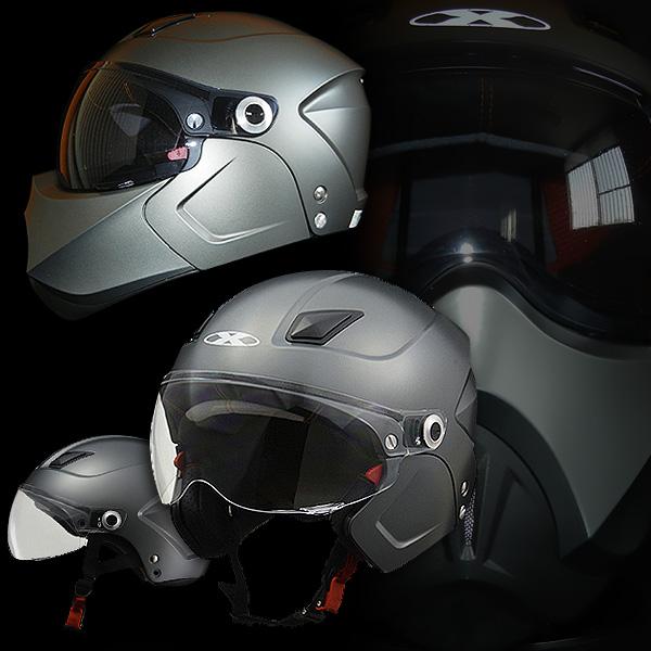 インナーシールド標準装備 システム ジェットヘルメット リード工業 X-AIR SOLDAD ソルダード [スモーキーシルバ-]チークガード + フェイスマスク + シールド付きセットFREEサイズ(57-60cm未満) メンズ レディース 兼用品 SG規格 125cc以下用 バイク用