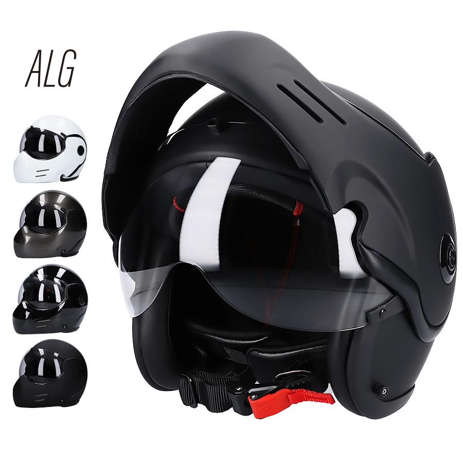 システムヘルメット フルフェイス ジェット フリップアップ チンオープン クリアシールド付き ALG AFUJET01 [4カラー]FREEサイズ(57-60cm未満) メンズ レディース 兼用品 SG/PSC規格 全排気量対応 バイク用