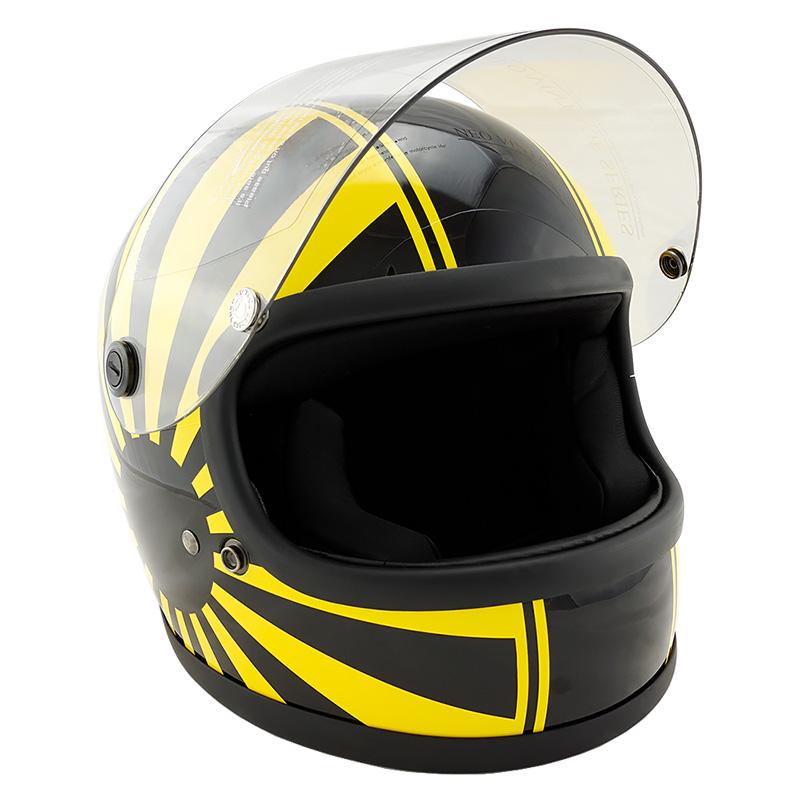 族ヘル レトロ ビンテージ フルフェイス ヘルメット NEO VINTAGE SERIES VT-7 日章 グラフィックモデル [YELLOW×BLACK/2サイズ]メンズ レディース 兼用品 SG規格 全排気量対応 バイク用