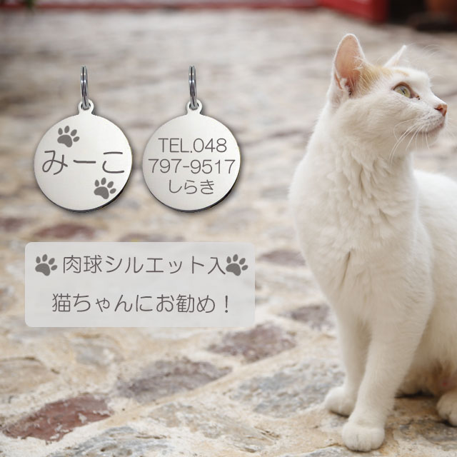 ネコポス配送 送料無料 公式通販 ギフトラッピング 無料 サービス 迷子札 肉球 シルエット入 プレート ネコ ネーム 極小タイプ 猫ちゃん用 ステンレスサークルSS