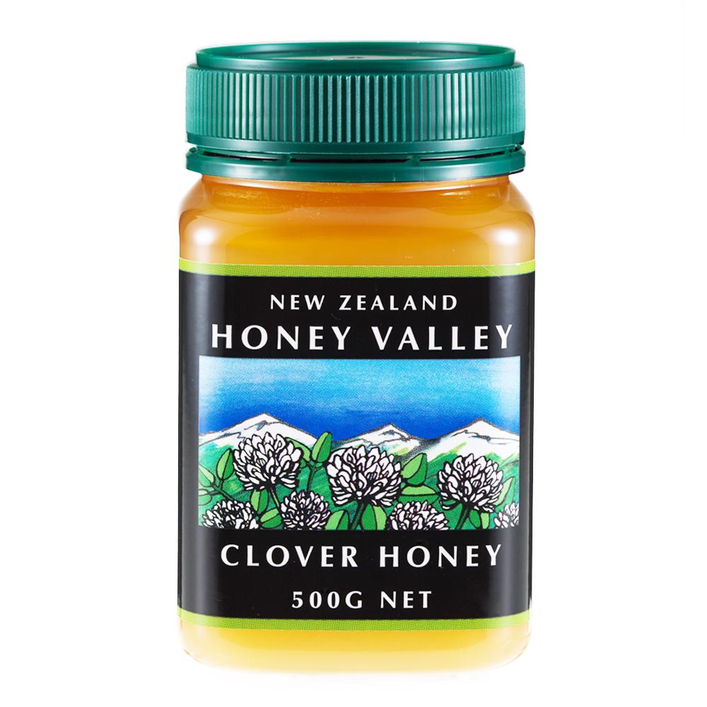 生はちみつ クローバーハニー 捧呈 天然のはちみつをたっぷり500g 500g 5☆好評 ニュージーランド産 とってもクリーミーな無添加天然生はちみつ RCP ハニーバレー クローバーはちみつ HLS_DU