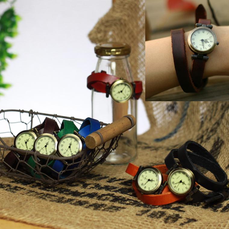 【ランキング1位受賞】腕が細く見える!かわいい本革 腕時計 レザーウォッチ2連 ゆるベルト ペアウォッチにも! レディース アンティーク 革ベルト アナログ腕時計 ゆるかわ 森ガール 山ガール ファッション ブラック ブラウン 2連巻き 2重巻き 【RPC】