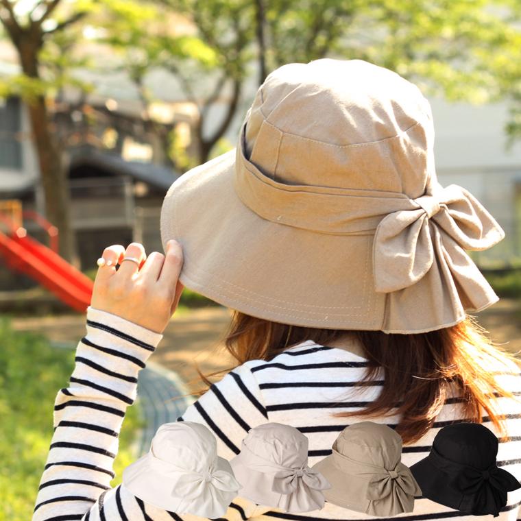 日本製 uvカット 帽子 レディース 夏 メンズ ガーデニング 日除け つば広 チェック ファッション 登山 春夏 スカートリボンハット ハット 紫外線対策 アウトドア サイドリボン 花粉症 女性用 日よけ 紫外線 たためる 送料無料 運動会 UVカット 全4色 UV