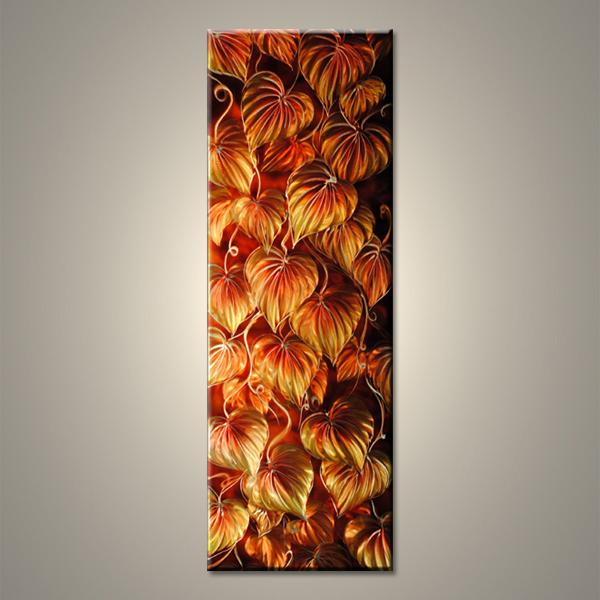 【現代アート工房】 メタルアート 現代絵画 インテリア 絵画 壁掛け 立体感のあるモダンアート ハンドメイド作品 ナチュラルライン 植物A 2FMA-392 40×120cm