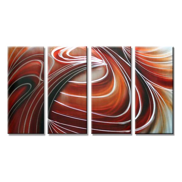 【現代アート工房】 メタルアート 現代絵画 インテリア 絵画 壁掛け 立体感のあるモダンアート ハンドメイド作品 抽象画ライン 2FMA-422 30×80cm-4