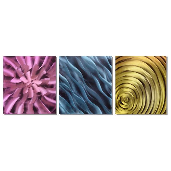 【現代アート工房】 メタルアート 現代絵画 インテリア 絵画 壁掛け 立体感のあるモダンアート ハンドメイド作品 抽象画ライン 2FMA-431 60×60cm-3