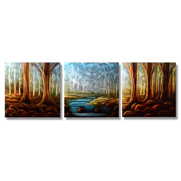 【現代アート工房】 メタルアート 現代絵画 インテリア 絵画 壁掛け 立体感のあるモダンアート ハンドメイド作品 ナチュラルライン 風景A 2FMA-582 60×60cm-3