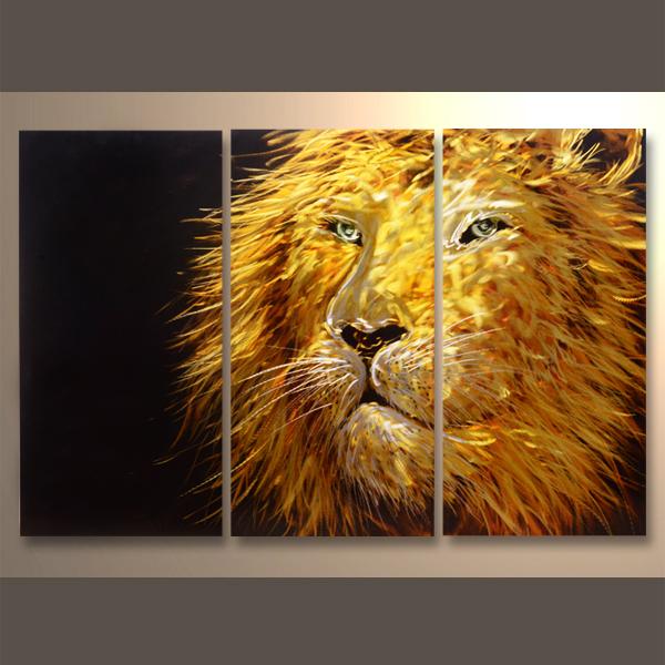 【現代アート工房】 メタルアート 現代絵画 インテリア 絵画 壁掛け 立体感のあるモダンアート アニマルライン ライオンA 2FMA-427 40×80cm-3