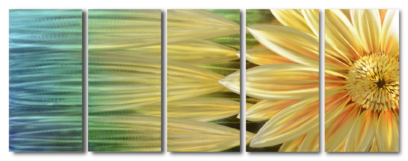 【現代アート工房】 メタルアート 現代絵画 立体感のあるモダンアート ハンドメイド作品 ナチュラルライン 向日葵C 2FMA-f1 60×30cm-5