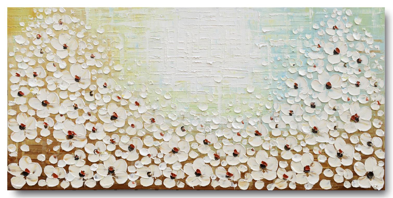 【モダン油絵工房】 油絵 現代絵画 手書きモダン油絵 ナチュラルライン 花E 2FAE-f2 60×120cm