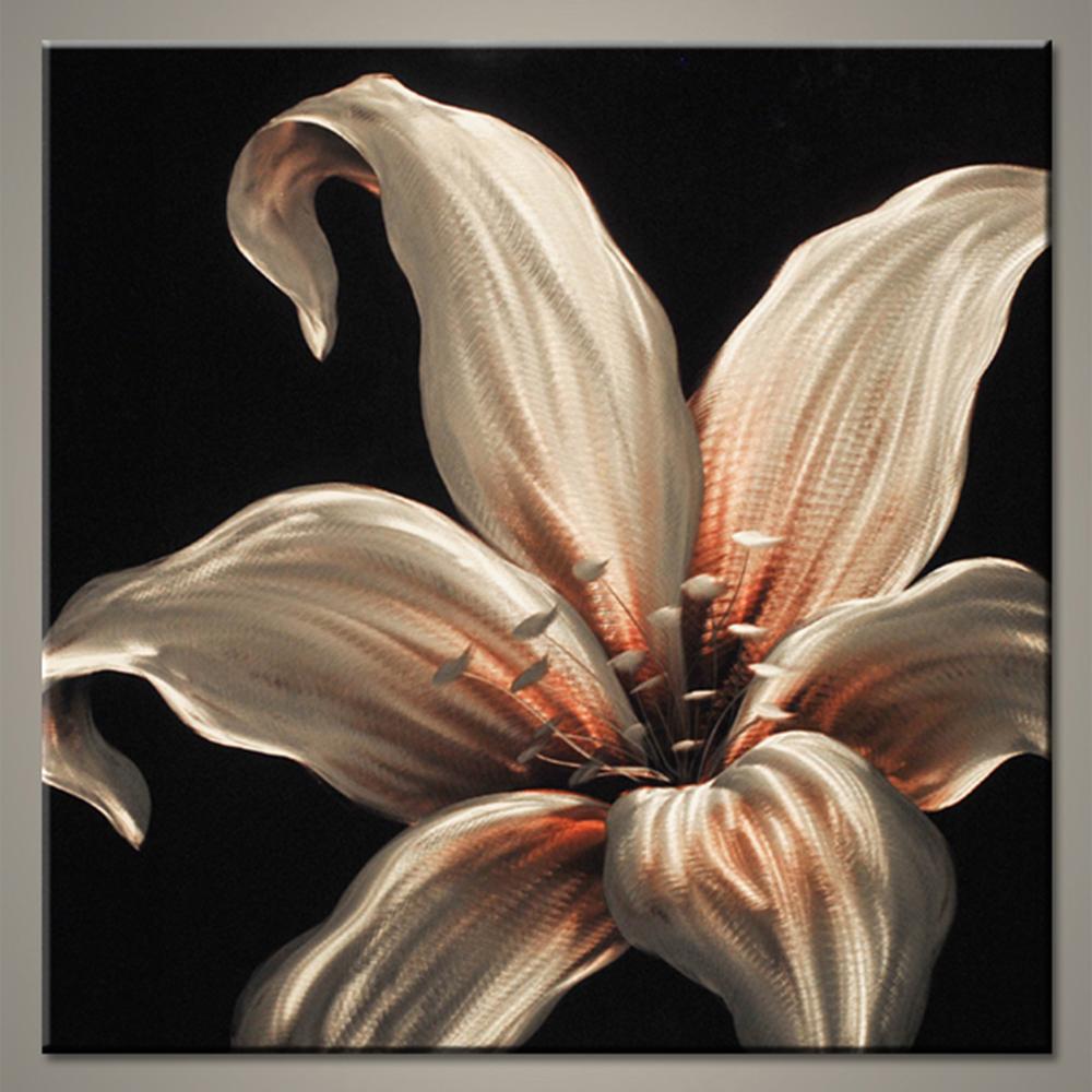 【現代アート工房】 メタルアート 現代絵画 インテリア 絵画 壁掛け 立体感のあるモダンアート ハンドメイド作品 ナチュラルライン ユリB 2FMA-399 80×80cm