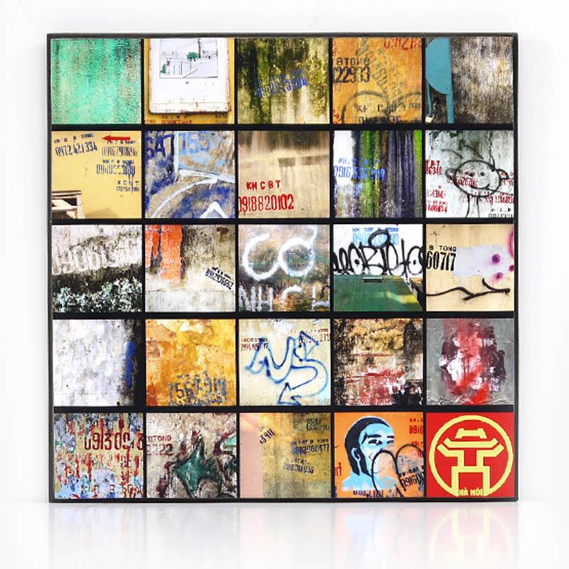 【KH CAT B TONG】木製アートパネルJ モダンアート壁掛け ベトナム雑貨 インテリア 壁飾り