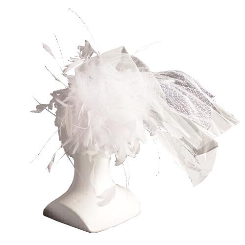 羽根を使ったブライダル用 ヘッドドレス 白