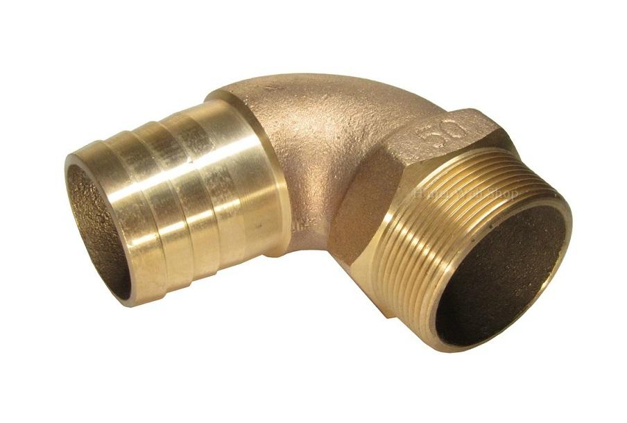 砲金 一体型ホースエルボ2-1/2インチネジ:ネジ卒径76.3mm 65Aタケノコ:ホース口 63.5mm ホース継手 ホース継ぎ手 ホース金物