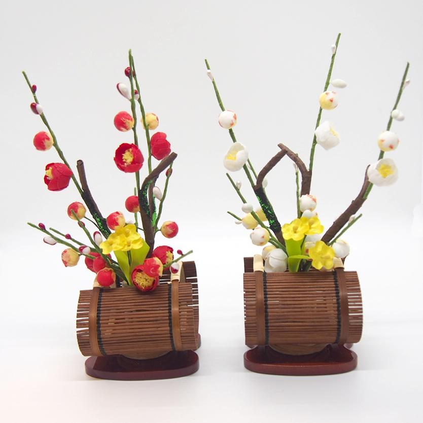 小すだれ菜の花付き紅白梅 雛道具 飾り花 お道具 単品 雛人形 桜橘 梅 お正月 飾り 和風 造花 ディスプレイ
