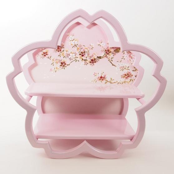 飾り台 ピンク銀ラメ塗桜型飾台桜樹43cm かわいい雛道具 和小物 ディスプレイ 単品販売 雛飾り 和風 インテリア 雛人形 木目込み
