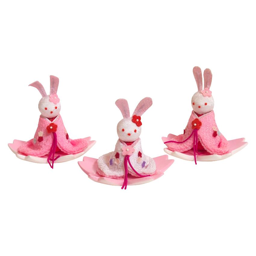 うさぎの三人官女 かわいい雛道具 和小物 ディスプレイ 単品販売 雛飾り 和風 インテリア