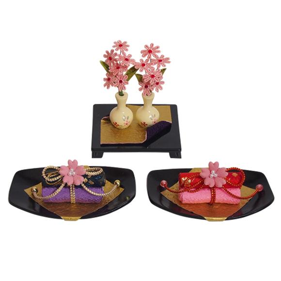 巻物飾り 楕円台 三品 かわいい雛道具 和小物 ディスプレイ 単品販売 雛飾り 和風 インテリア