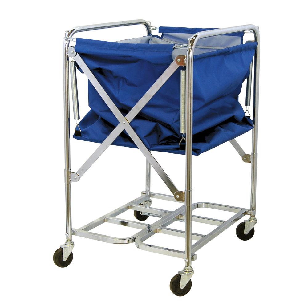折畳式 リネンカート トレッドワゴンアップダウン式青カバー付 φ75キャスター付 折り畳み 昇降式 可動式