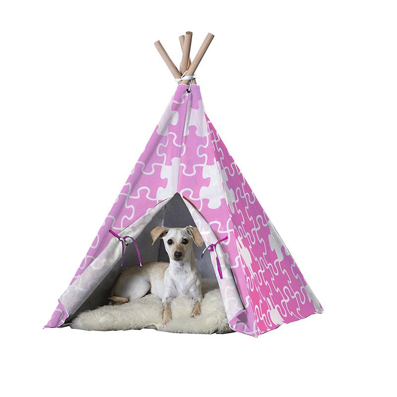 【zoovilla】人気のティピーテントにペット用が新登場!ペットティピーテント ピンクパズル Lサイズ 【ベッド マット ハウス テント クレート】※画像白色のクッションはついておりません※