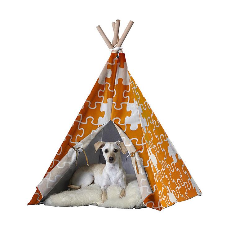 【zoovilla】人気のティピーテントにペット用が新登場!ペットティピーテント オレンジパズル LMサイズ 【ベッド  ハウス テント クレート】