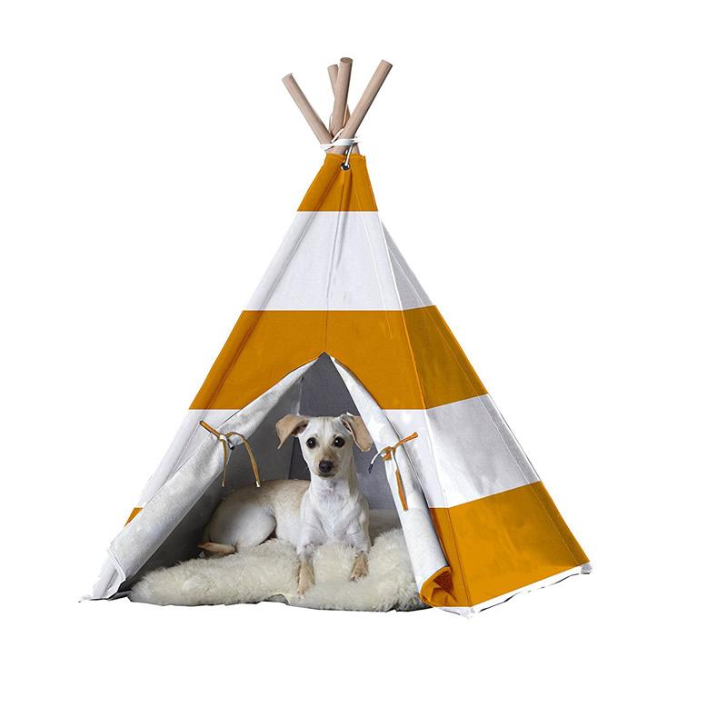 【zoovilla】人気のティピーテントにペット用が新登場!ペットティピーテント オレンジストライプ Lサイズ 【ベッド  ハウス テント クレート】※画像白色のクッションはついておりません※