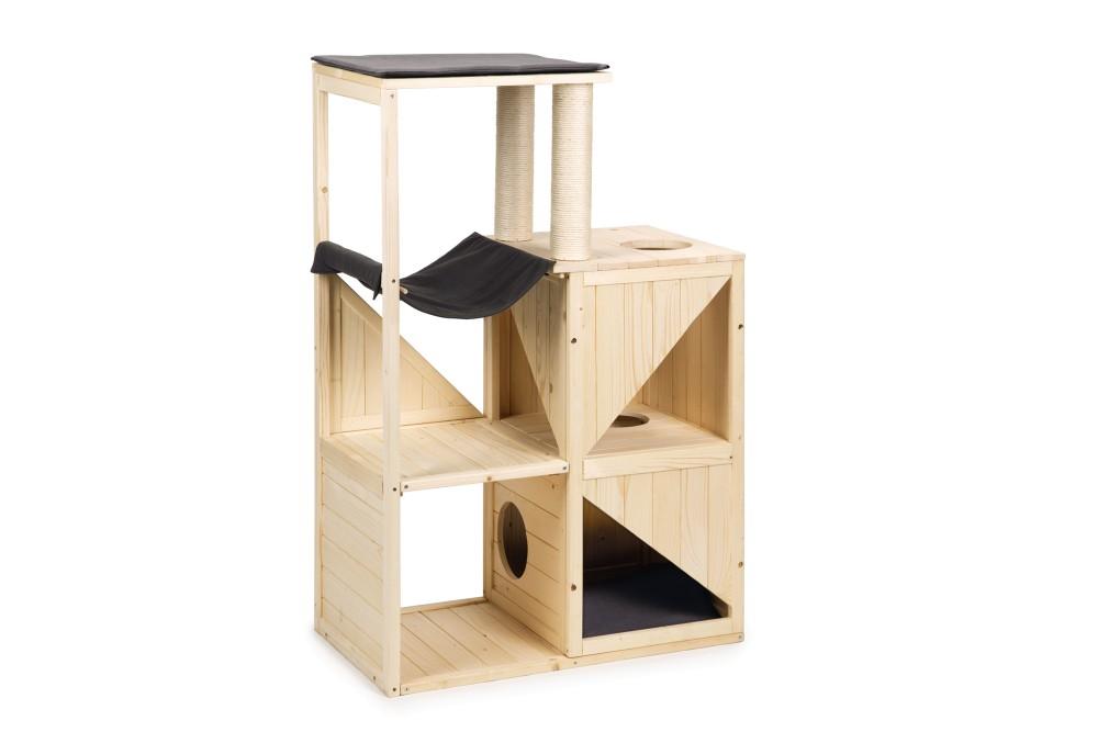 【オランダBEEZTEES】キャットタワー 木製 据え置き オランダ BEEZTEES ウッドスクラッチファニチャー Vajra【猫ハウス キャットハウス 保護猫】