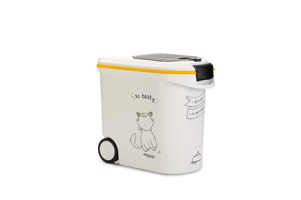 生活用品で世界中で有名なCURVERからペット用品が登場 ※猫柄です※ Curver Pet Life Style カーバーペットライフキャットフードストッカーNEWキャットシルエットフードコンテナ 買収 商品追加値下げ在庫復活 ホワイトイエロー 412045 12KG 35L