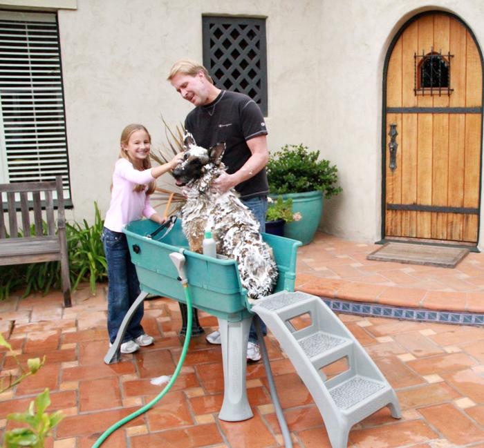 【アメリカHeininger】室内でも室外でもお使いいただけます!アメリカハイニンジャー簡易バス ブースターバスタブL大型犬用+スロープセット【お散歩 ドライブ アウトドア ぺたバス プール トリミング】