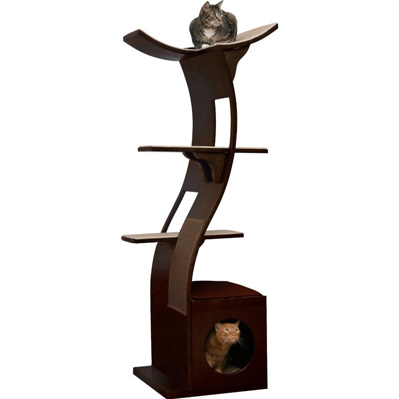 【Refined Kind】これまでのタワーの常識を覆したエレガントデザイン!リファインドカインド ロータスキャットタワー エスプレッソ(こげ茶)【クローゼット 猫タワー ねこタワー 高級 ねこカフェ 猫カフェ ネコノミクス 猫の日】