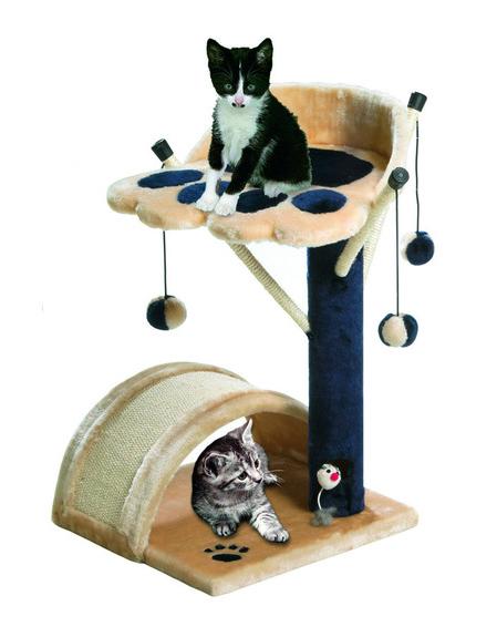 【ドイツKARLIE】キャットタワー新発売!KARLIE スクラッチングツリーキティキッズ 3 ベージュ×ブルー【キャットタワー 爪とぎ プレイボックス 猫】