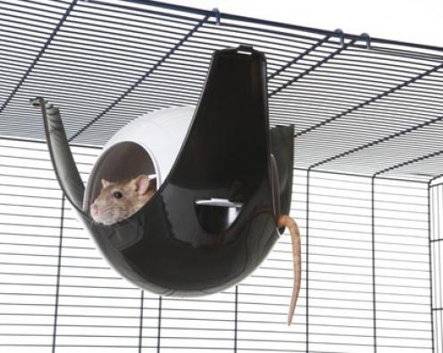 【SAVIC】ハウスにもハンモックにもなる球体型のハムスターハウスです。ベルギーサヴィッチ社製 ハムスターハンモック スプートニクXL ブラック×グレー 24個セット1ケース【うさぎ フェレット ハムスター バードケージ 小動物】