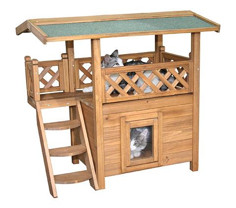 ※少量再入荷しました!【ドイツKerbl】人気の木製2階建てキャットハウスです。キャットタワー キャットハウス ロッジ Cat House LODGE 77 x 50 x 73 cm【キャットツリー クローゼット 猫タワー ねこタワー ハンモック  ねこカフェ 猫カフェ ネコノミクス】