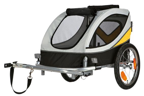 【ドイツTRIXIE】新発売!ドイツTRIXIE バイシクルトレーラー グレー×ブラック Lサイズ【バイクトレーラー ペットカート お散歩 ドライブ アウトドア お出かけ ドギーライド】