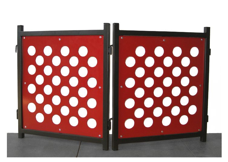 【アメリカPETSSTOP】シカゴからデザインがかわいいペット用品が登場!ペッツストップ ポルカドットフリースタンディングドッグゲートS レッド&モカ【ゲート サークル ケージ デザイナーズ】
