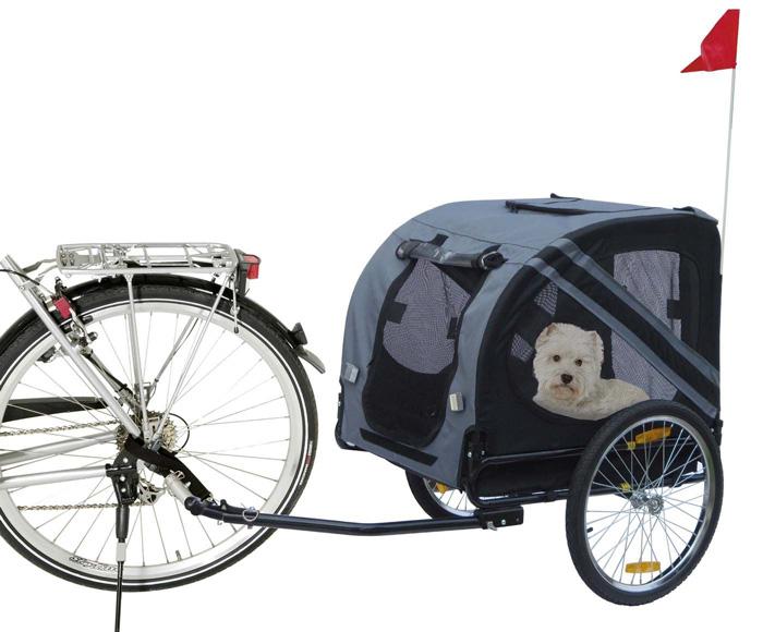 【ドイツKARLIE】耐荷重40kgまで!ドイツKARLIE社製バイクトレーラー ドギーライナーバイシクルエコノミー グレー×ブラック【ペットカート お散歩 ドライブ アウトドア ドギーライド】