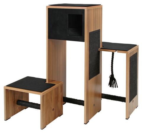 【ドイツKerbl】ねこカフェなどでも人気の自由に組み替え可能なキャットタワーです。ドイツKerbl社キャットタワー スクラッチファニチャー アンビエントブラック【キャットタワー 爪とぎ ねこカフェ 猫カフェ ネコノミクス】