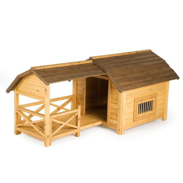 ※再入荷しました!テラス付きです!※【アメリカINNOVATIONPET】 大人気の取り外しできるテラス付き犬小屋!イノベーションペット Houses & Paws™ ウッドラックス ドッグハウス Wooded Lux Pet House