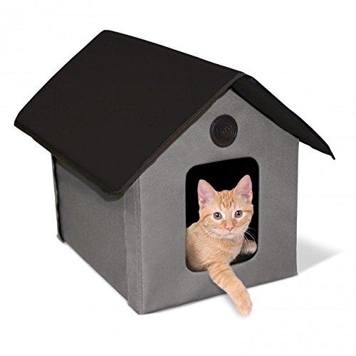 【K&Hペットプロダクツ】新発売 室内でも屋外でも使える猫ちゃんハウス アウトドアキティハウス グレー×ブラック 【猫ハウス キャットハウス 保護猫】