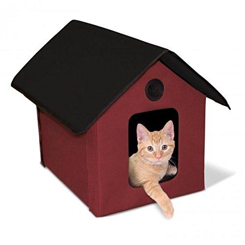 ※再入荷※【K&Hペットプロダクツ】新発売 室内でも屋外でも使える猫ちゃんハウス アウトドアキティハウス レッド×ブラック【猫ハウス キャットハウス 保護猫】