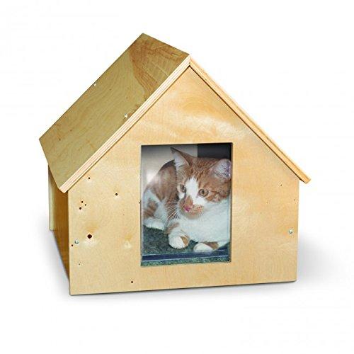 【K&Hペットプロダクツ】新発売 室内でも屋外でも使える木製猫ちゃんハウス バーチウッドマナーアウトドアキティホーム 【猫ハウス キャットハウス 保護猫】