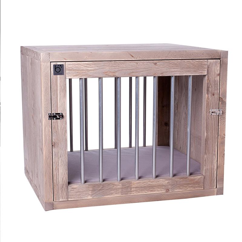 【オランダBing Design】ビンクデザイン オールハンドクラフト室内用ドッグハウス ブロックドッグクレートネイチャーLサイズ  bloq dog crate nature【犬小屋 ドッグハウス オランダ製 エコ インテリア】※クッションカラーをお選びください