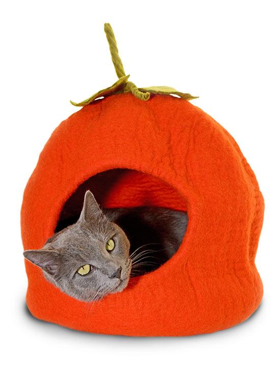 ※あったかくてかわいいでしょ?※【ダルマ・ドッグ・カルマ・キャット】ダルマ・ドッグ・カルマ・キャット ウールキャットベッド パンプキンケイブ オレンジ