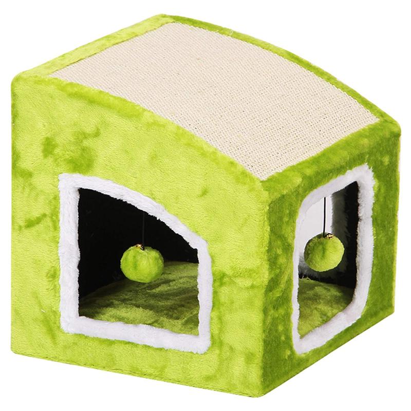 【アメリカPetPals】グリーンスクエア キャットコンド&スクラッチャー MOYO 【猫ハウス キャットハウス 保護猫】