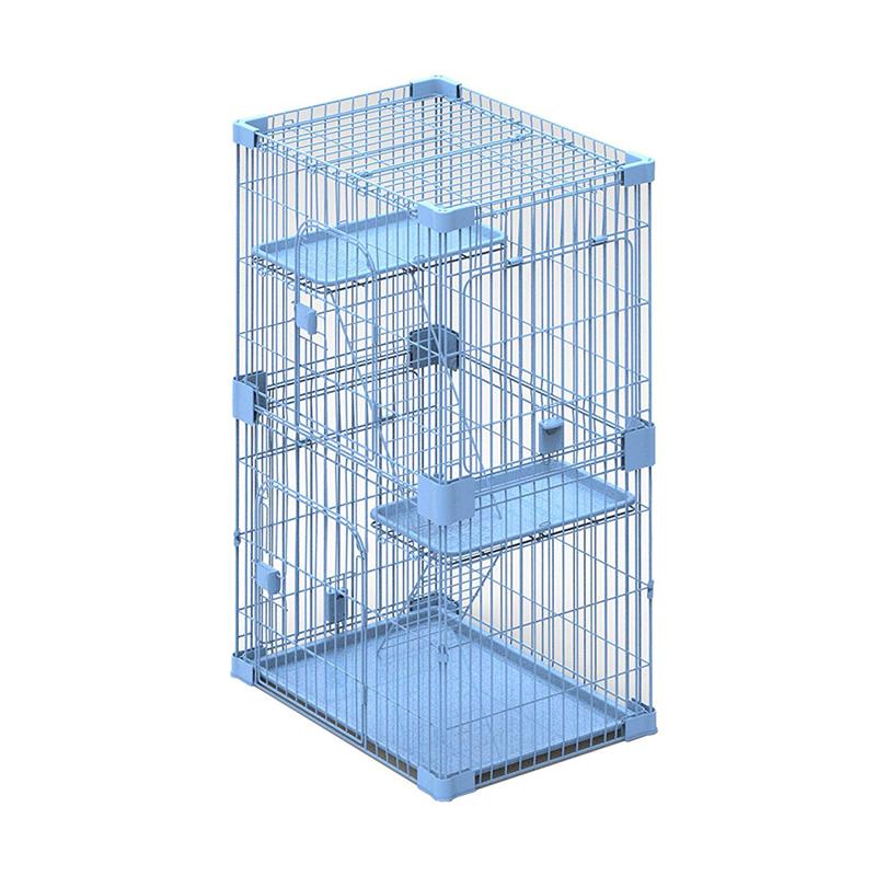 【アメリカPetPals】猫ケージ ワイヤーハウス2レベルキャットケージ ブルー【猫ハウス キャットハウス 保護猫】